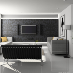 a living room with white concrete floor